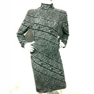 Cache Dress Large Stretch Long Sleeve Mock Neck